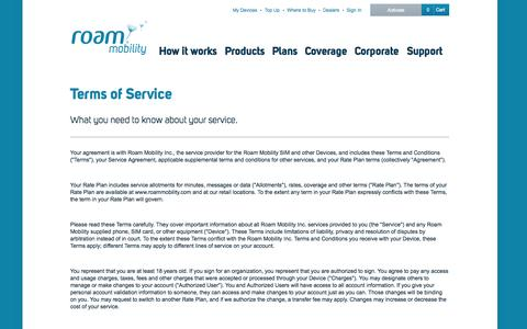 Screenshot of Terms Page roammobility.com - Terms and Conditions  - Roam Mobility - captured Sept. 19, 2014
