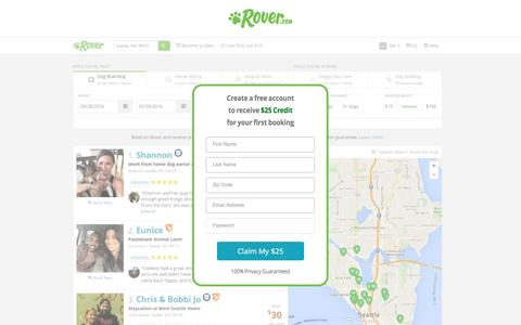 Screenshot of Landing Page rover.com - Rover.com Dog Sitting - captured April 19, 2017