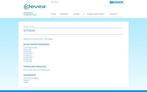 Screenshot of Site Map Page devea-environnement.com - Sitemap of Devea website - captured Sept. 30, 2014
