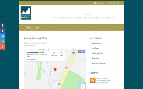 Screenshot of Maps & Directions Page forteriswealth.com - Purchase, NY Wealth Management Firm - captured Oct. 10, 2018