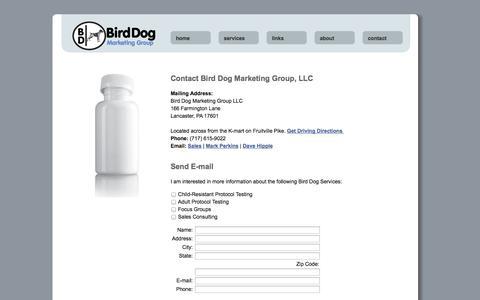 Screenshot of Contact Page birddogmarketinggroup.com - Bird Dog Marketing Group - captured Oct. 5, 2014
