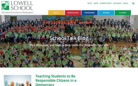 Screenshot of Blog lowellschool.org - School Talk: The Lowell Blog - captured May 23, 2017