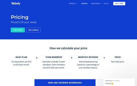 Screenshot of Pricing Page rebilly.com - Pricing - Rebilly - captured March 20, 2019