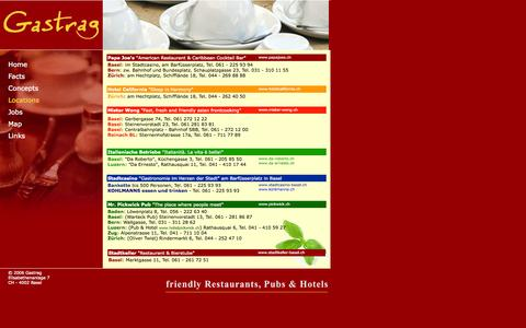 Screenshot of Locations Page gastrag.ch - Gastrag - friendly Restaurants, Pubs & Hotels - captured Oct. 2, 2014