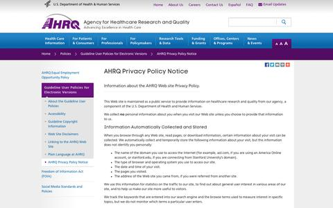 Screenshot of Privacy Page ahrq.gov - AHRQ Privacy Policy Notice | Agency for Healthcare Research & Quality (AHRQ) - captured Sept. 23, 2014
