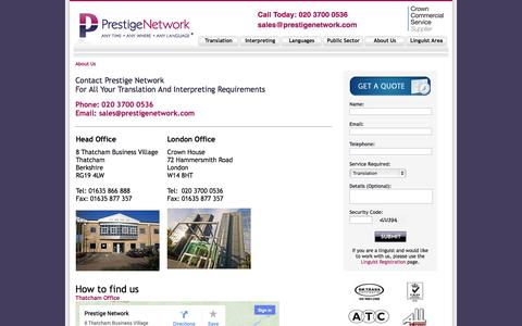 Screenshot of About Page prestigenetwork.com - Translation and Interpreting Services - Contact - captured Sept. 23, 2014