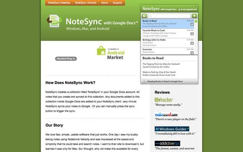 Screenshot of About Page notesync.com - About NoteSync with Google Docs - How it works, tips, and contact - captured May 21, 2016
