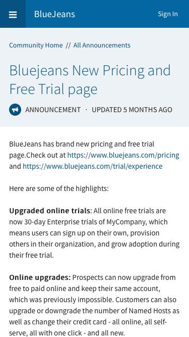Screenshot of Trial Page  bluejeans.com - Bluejeans New Pricing and Free Trial page | BlueJeans Community