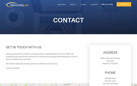Screenshot of Contact Page highervisibility.com - (2) New Messages! - captured Jan. 13, 2018