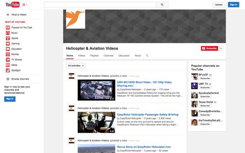 Screenshot of YouTube Page youtube.com - Helicopter & Aviation Videos  - YouTube - captured Oct. 22, 2014