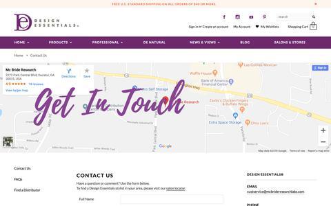 Screenshot of Contact Page designessentials.com - Contact Us   Design Essentials - captured Nov. 4, 2018
