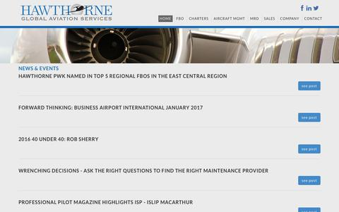 Screenshot of Press Page hawthorne.aero - News & Events, In The News - Hawthorne Corporation, Airport, FBO Management, Consulting, Investment - captured July 23, 2017