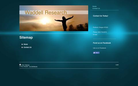 Screenshot of Site Map Page waddellresearch.com - - Home - captured June 11, 2017