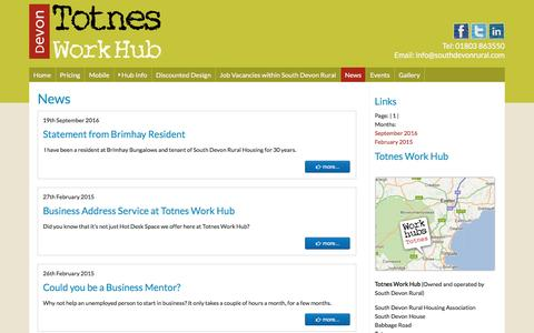 Screenshot of Press Page totnesworkhub.co.uk - Totnes Work Hub - captured Dec. 14, 2016