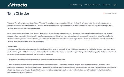 Screenshot of Terms Page attracta.com - Terms Of Service - Attracta - captured Sept. 13, 2014