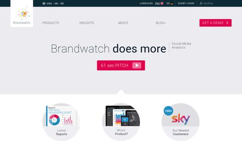 Screenshot of Home Page brandwatch.com - Social Media Monitoring and Analytics Tools - Brandwatch - captured July 17, 2014