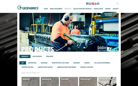 Screenshot of Products Page geofabrics.com.au - Products | Geofabrics Australasia - captured Oct. 2, 2014