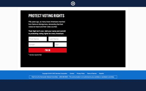 Screenshot of Landing Page democrats.org - |  Voting Rights Matter - captured Aug. 19, 2016