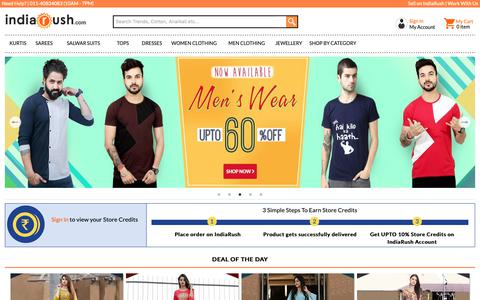 Screenshot of Home Page indiarush.com - Online Shopping Site For Women Apparel, Sarees, Suits, Lehengas, Jewellery, Western Wear - Indiarush - captured Feb. 20, 2019