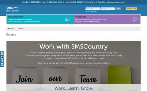 Screenshot of Jobs Page smscountry.com - Start Your Career With SMSCountry - captured Sept. 22, 2018