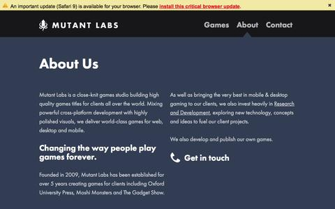 Screenshot of About Page mutantlabs.com - Mutant Labs - About - captured Feb. 26, 2016