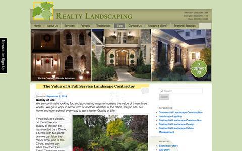 Screenshot of Blog realtylandscaping.com - Realty Landscaping | Blog | - captured Oct. 7, 2014