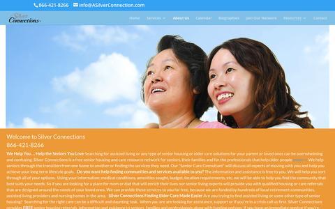 Screenshot of About Page asilverconnection.com - Senior Elder Care - captured Feb. 27, 2016