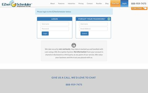 Screenshot of Login Page eznetscheduler.com - Scheduling Software For Small Business Start Your Free 15-Day Trial eznetscheduler.com - captured Nov. 11, 2018