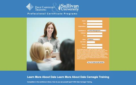 Screenshot of Landing Page sullivan.edu - Sullivan University | Dale Carnegie Certificates Landing Page | Request More Information - captured Oct. 27, 2014