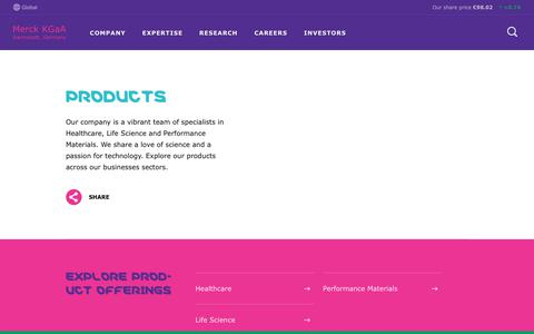 Screenshot of Products Page emdgroup.com - Products Section | Merck KGaA, Darmstadt, Germany - captured Sept. 6, 2019