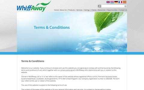 Screenshot of Terms Page whiffaway.com - Terms & Conditions | Whiffaway - captured Oct. 26, 2014