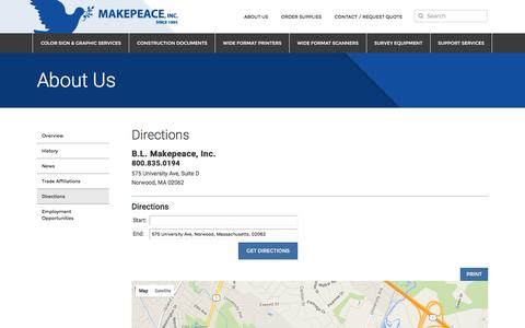 Screenshot of Maps & Directions Page makepeace.com - Directions | Makepeace, Inc. - captured Jan. 29, 2016