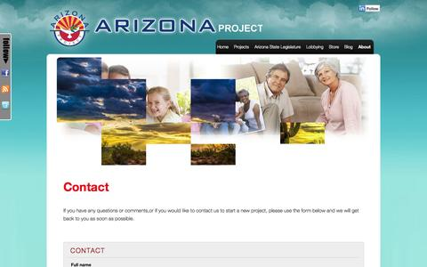 Screenshot of Contact Page azproject.org - Contact   Arizona Project - captured Sept. 23, 2014