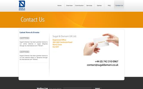 Screenshot of Contact Page sugaldamani.co.uk - Sugal and Damani - captured Oct. 8, 2014