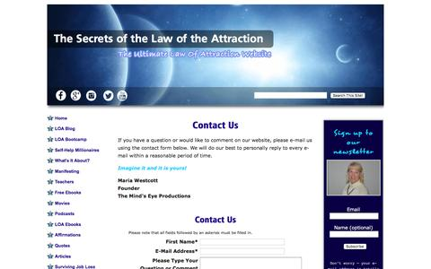 Screenshot of Contact Page the-secrets-of-the-law-of-attraction.com - Contact Us - captured April 9, 2017