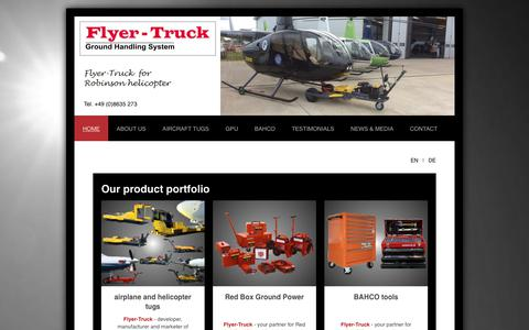 Screenshot of Home Page flyer-truck.com - Flyer-Truck Zaglauer - towbarless aircraft tug - electric towing tugs - captured Aug. 16, 2018