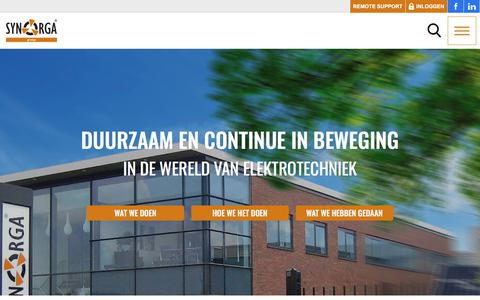 Screenshot of Home Page synorga.nl - Synorga Rotterdam - Barendrecht - Elektrotechniek Rotterdam, Beveiliging & Telecommunicatie en Electrical Management - captured Sept. 21, 2018