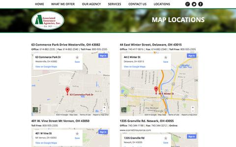 Screenshot of Locations Page associated-ins.com - Map Locations   Associated Insurance Agencies, Inc. - captured Oct. 4, 2014