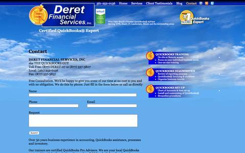 Screenshot of Contact Page deretfinancial.com - Contact Deret Financial Services at 561-252-0136 - captured Nov. 24, 2016