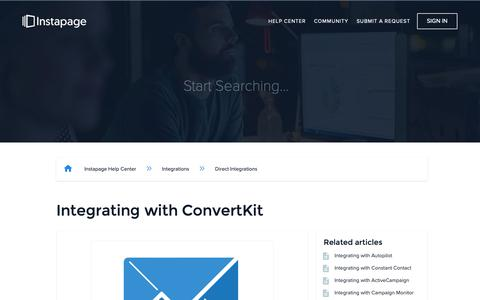 Screenshot of Support Page instapage.com - Integrating with ConvertKit – Instapage Help Center - captured Nov. 9, 2018
