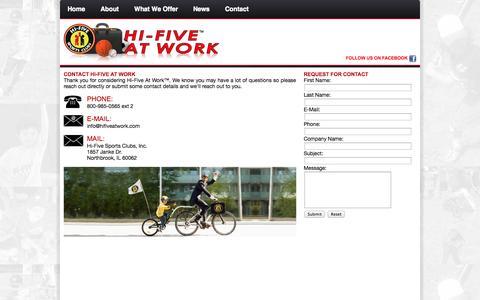 Screenshot of Contact Page hifiveatwork.com - Hi-Five At Work - captured Sept. 30, 2014