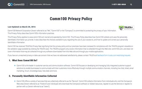Screenshot of Privacy Page comm100.com - Privacy Policy - Comm100 - captured Aug. 20, 2016