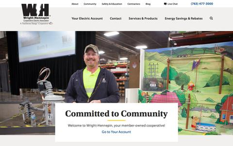 Screenshot of Home Page Menu Page whe.org - Wright-Hennepin Cooperative Electric Association - captured June 23, 2017