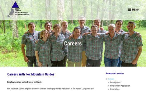 Screenshot of Jobs Page foxmountainguides.com - Careers - Fox Mountain Guides & Climbing School - captured Dec. 19, 2018
