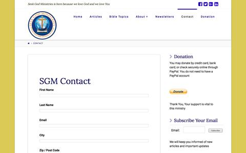 Screenshot of Contact Page seekgod.org - Contact | Seek God Ministries - captured Feb. 26, 2016