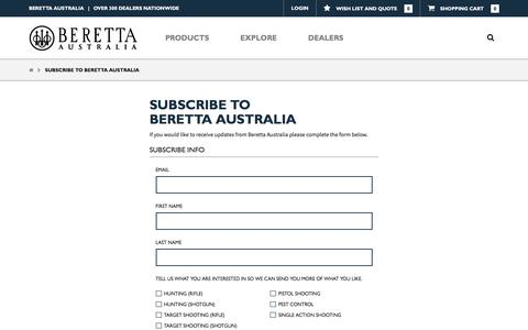 Screenshot of Signup Page berettaaustralia.com.au - Subscribe to Beretta Australia - captured June 1, 2017