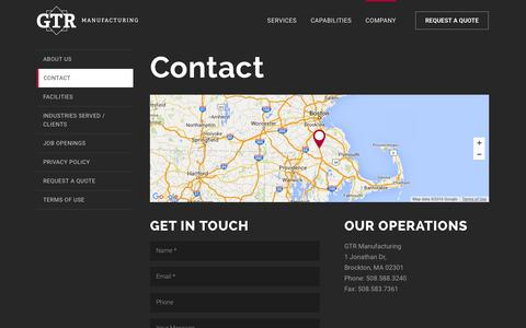 Screenshot of Contact Page gtrmfg.com - Contact GTR Manufacturing | GTR Manufacturing Contact Information - captured Jan. 25, 2016