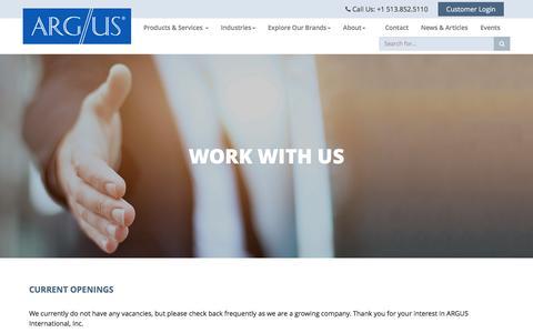 Screenshot of Jobs Page argus.aero - Careers - Argus International - captured Dec. 5, 2016