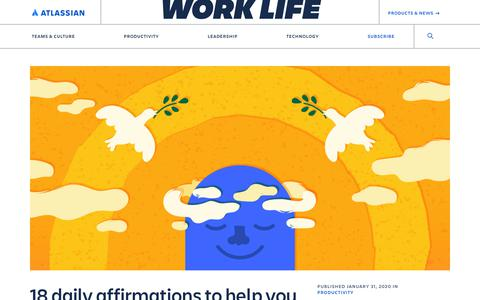 Screenshot of Blog atlassian.com - Daily affirmations to deal with burnout - Work Life by Atlassian - captured Feb. 8, 2020