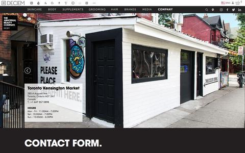 Screenshot of Contact Page deciem.com - DECIEM | Contact - captured March 4, 2017